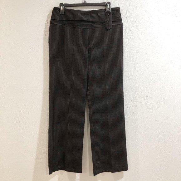 Sharagano Pants - Sharagano Studio | Black Pinstripe Dress Pants